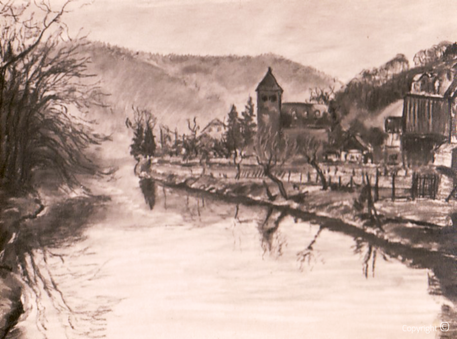 Missing - Wupper near Unterburg, Solingen, pastel, ca.1928