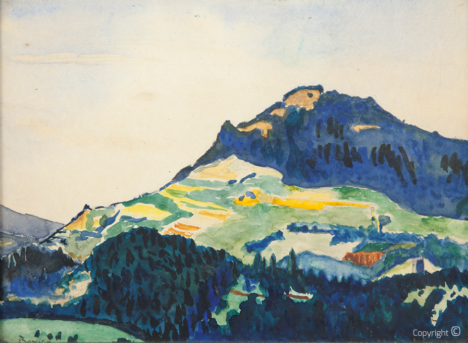 Swiss mountain range, watercolor, 1917