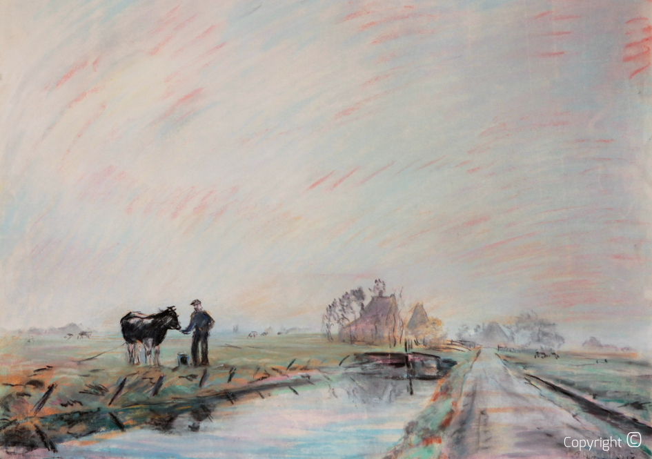 Catalog of Works N ° 1101 - Dutch canal landscape, farmer with cow