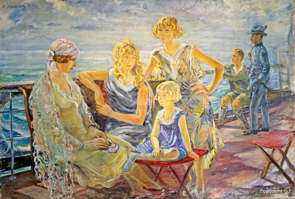 Werkverzeichnis N° 53 – Familie Enzenross auf einem Bodenseeschiff, 1930