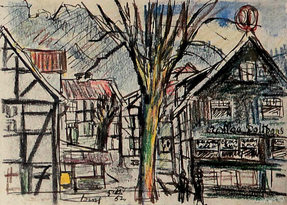 Impressionen der Ortschaft Unterburg an der Wupper, 1952