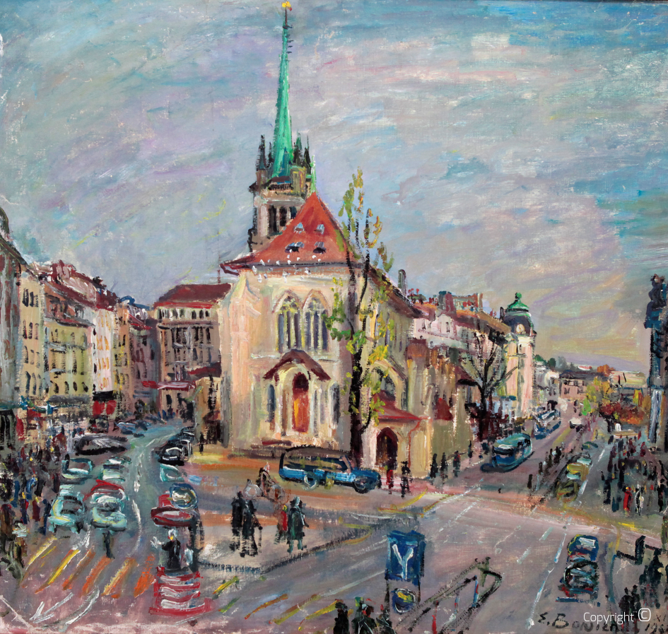 Catalog raisonné N ° 784 - Street scene with Münster in Swiss town, 1967