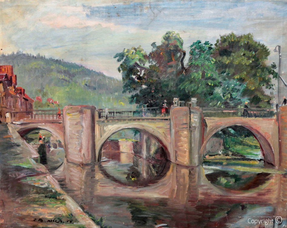 The old Werra bridge in Hannoversch Münden, 1948