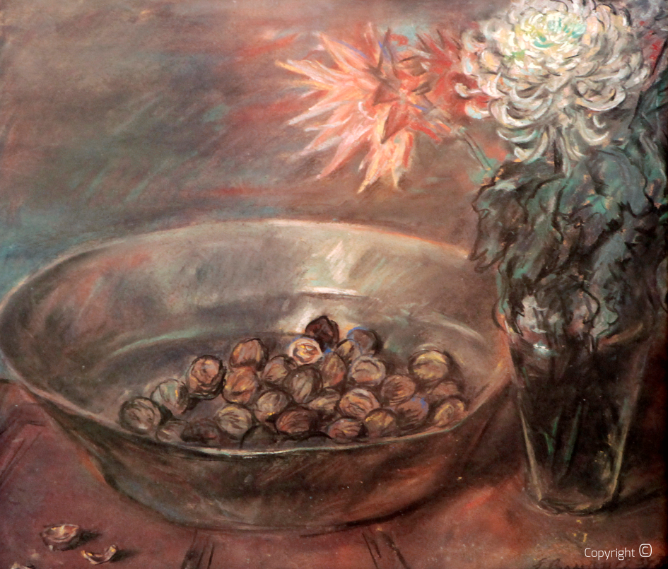 Catalog of works N ° 1082 - bowl with nuts and chrysanthemums, 1934