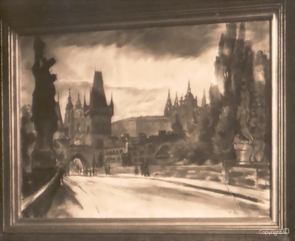 Prague Bridge, pastel, ca.1928