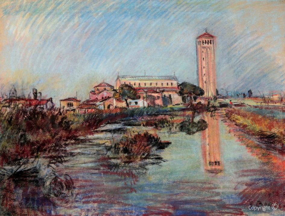 Der Campanile von Torcello bei Venedig, 1952