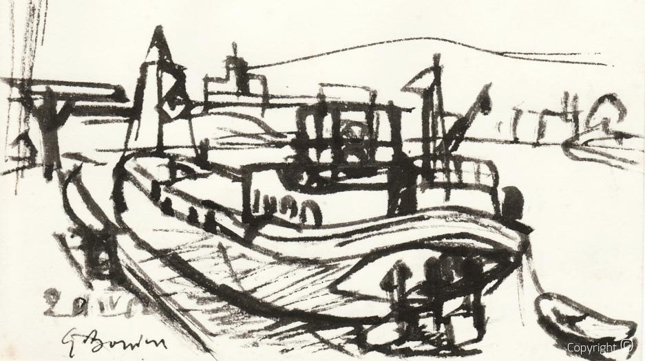 Schiff im Hafen von Weil am Rhein, 1962