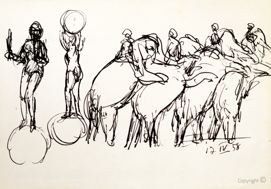 Elephants in the circus, study, 1958
