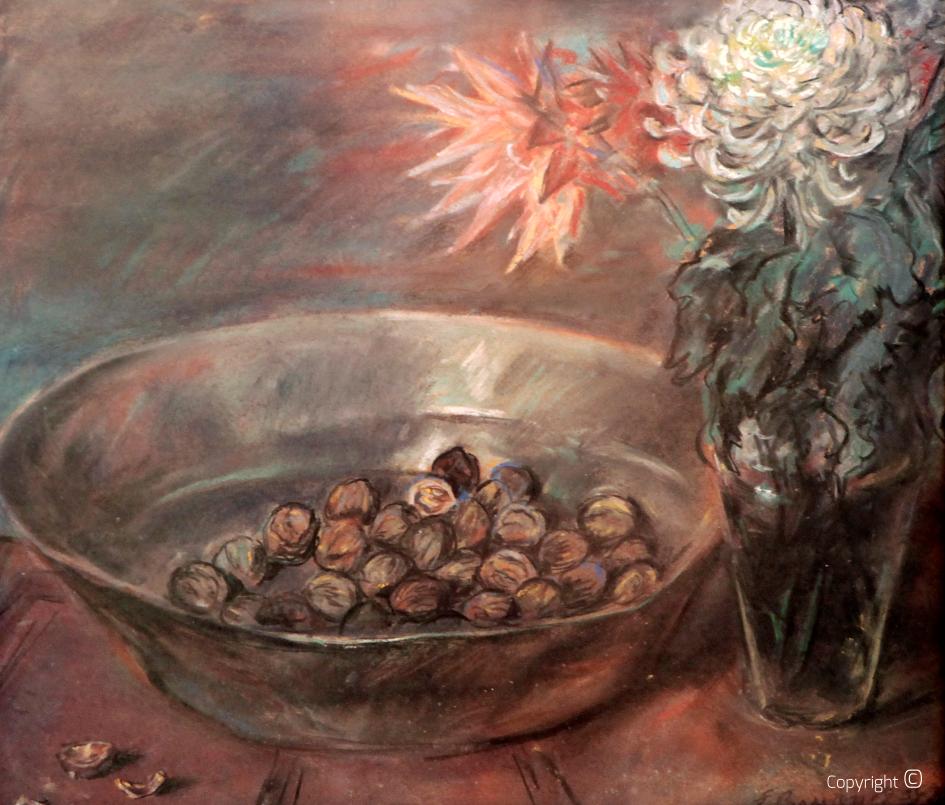 Werkverzeichnis N° 1082 – Schale mit Nüssen und Chrysanthemen, 1934