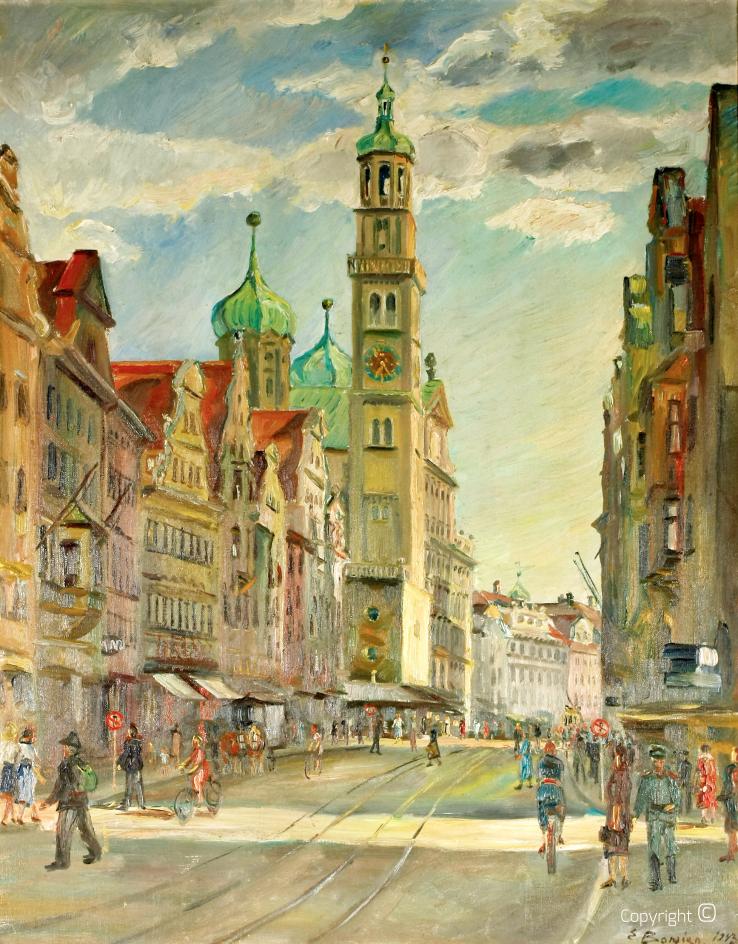 Werkverzeichnis N° 163 – Augsburg, Blick auf das Rathaus,, 1943