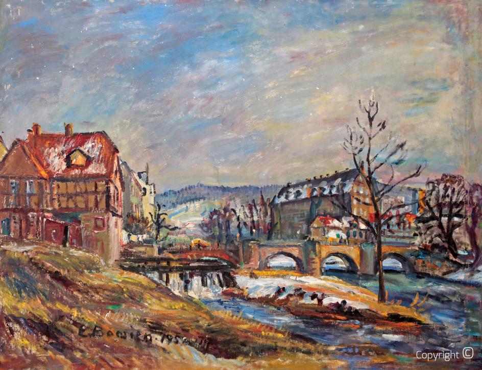 Werrabrücke mit Schloss in Hannoversch Münden, 1958
