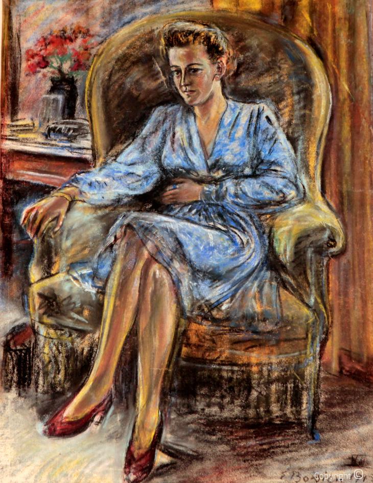 Simone Quakot in Kreuzthal-Eisenbach - pastel, 1945
