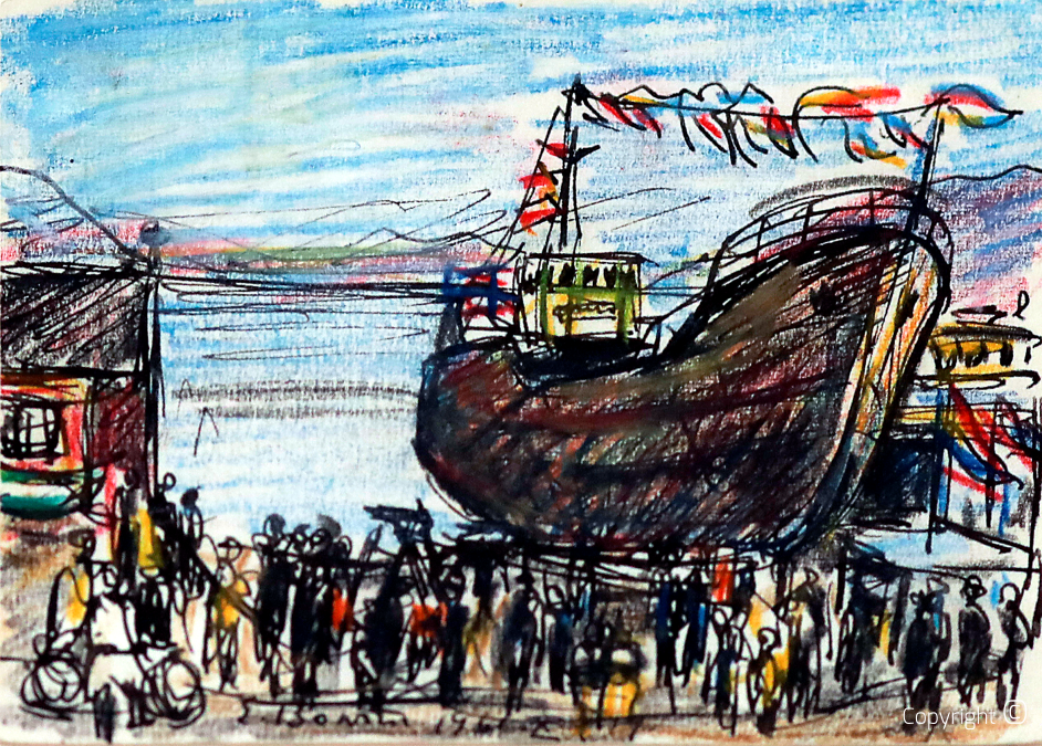 Der Hafen von Sandnessjoen in Norwegen, 1961