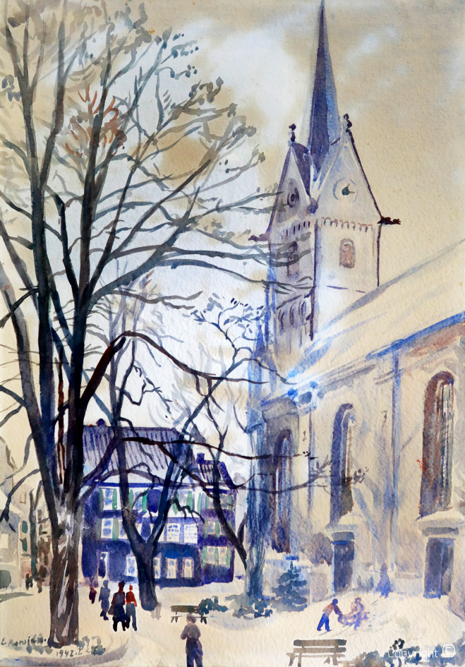 City church Solingen in the snow, winter 1942