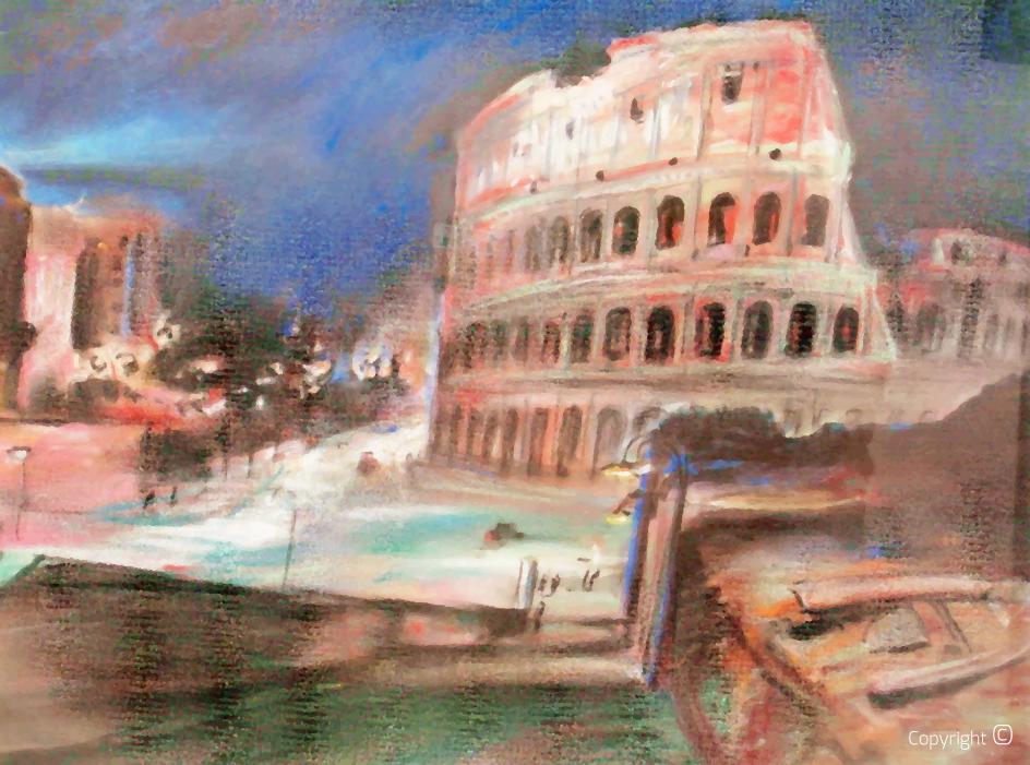 Geraubt – Werkverzeichnis N° 1078 – Das Kolosseum in Rom bei Nacht, Pastell, 1934 – das Werk  wurde 2006 bei einem Einbruch in Solingen geraubt