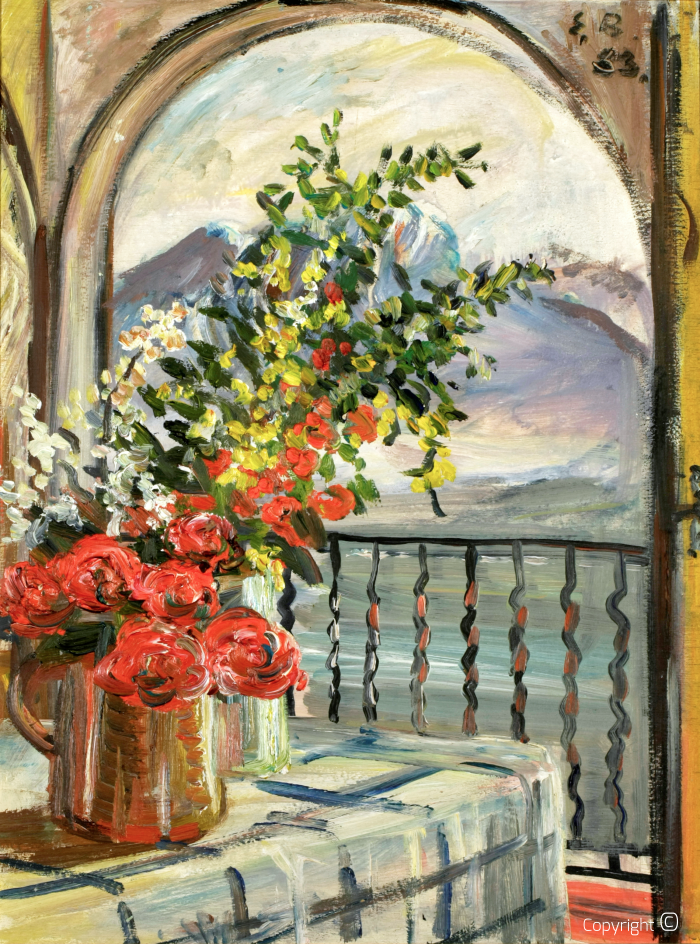 Flower still life over Lake Maggiore, 1953
