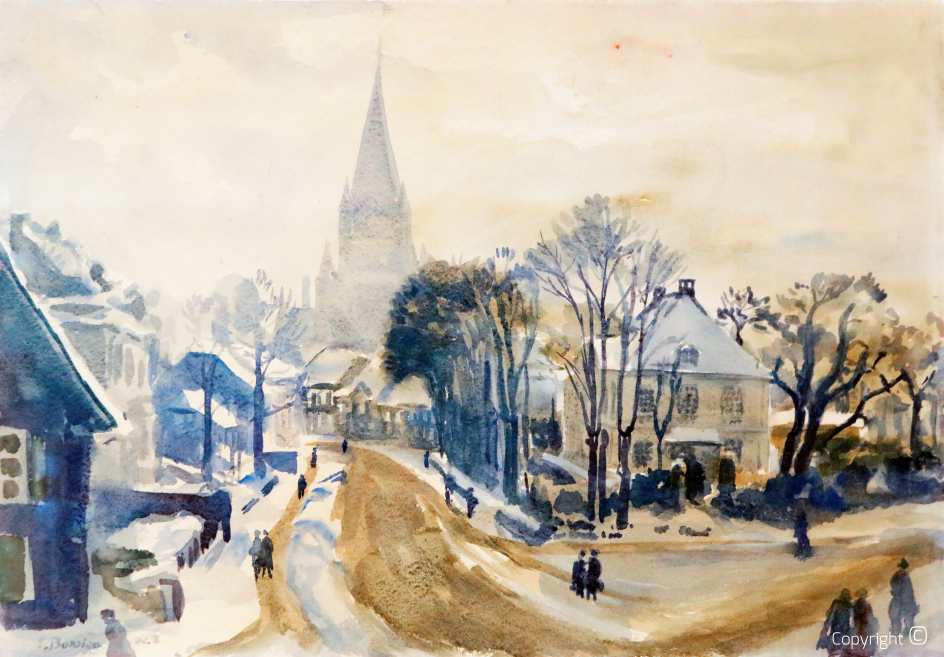 Catalog of Works N ° 1838 - Kölner Straße with Lutherkirche in Solingen, 1942