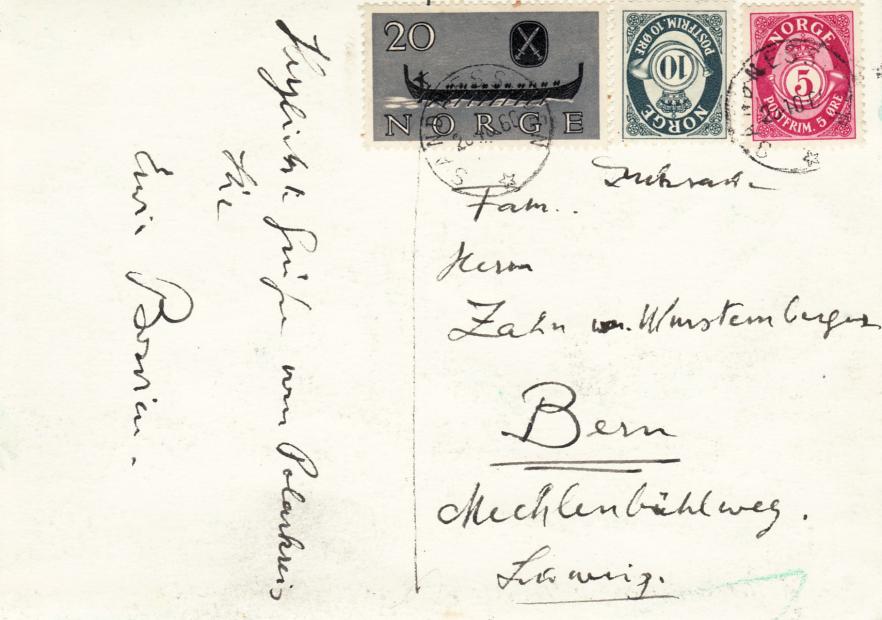 """Erwin Bowien (1899-1972): """"Liebe Grüße vom Polarkreis"""" - Sandnesjoen, 1960 - Rückseite"""