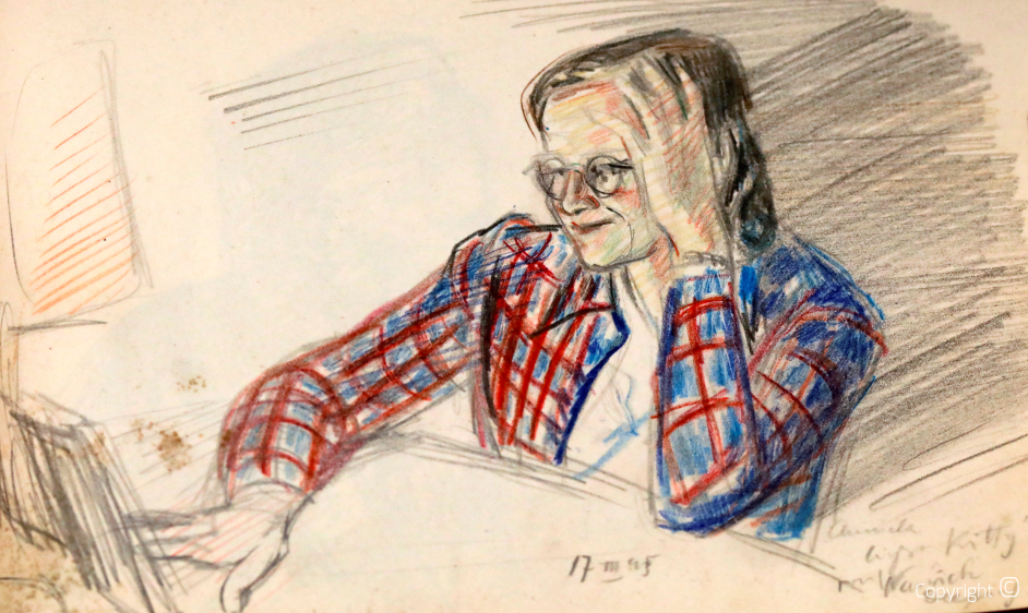 Erna Heinen-Steinhoff beim Lesen, 1945