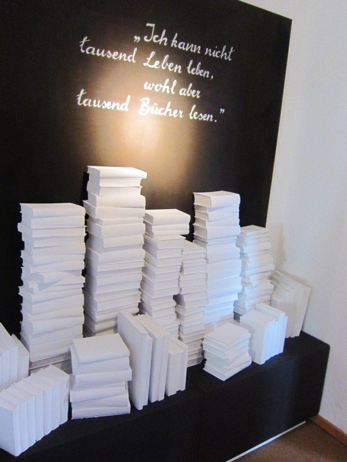 Installation in the museum quoting Bowien in homage to Bowien's collection of thousands of books