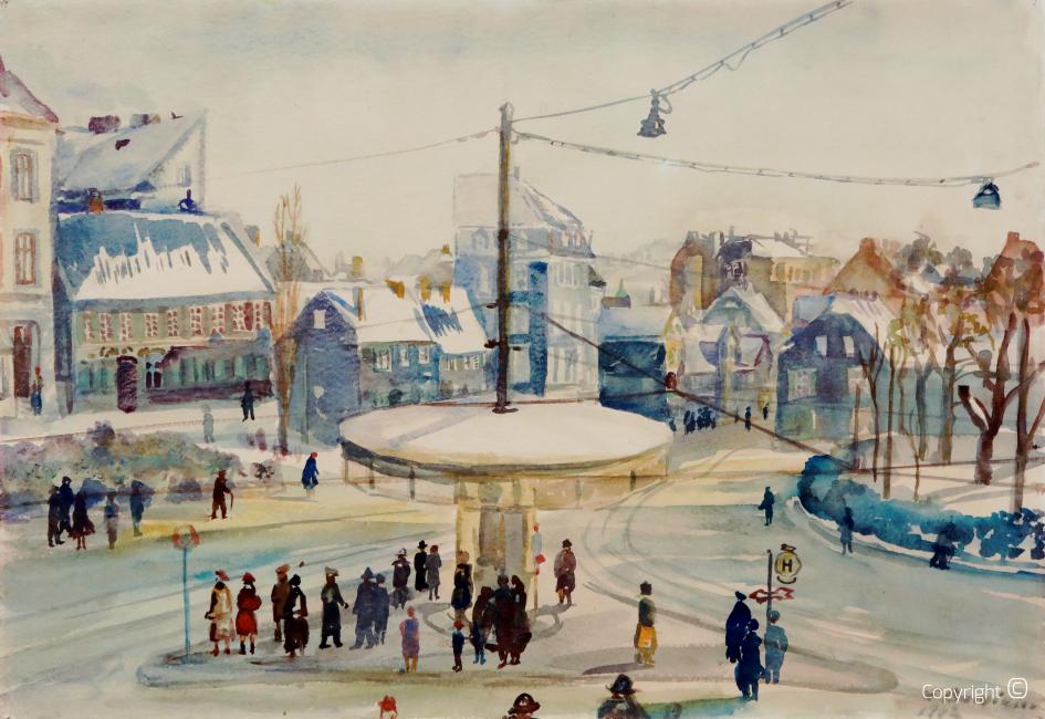 Werkverzeichnis N° 1834 - Stadtansicht von Solingen im Winter (Gleisdreieck), 1942
