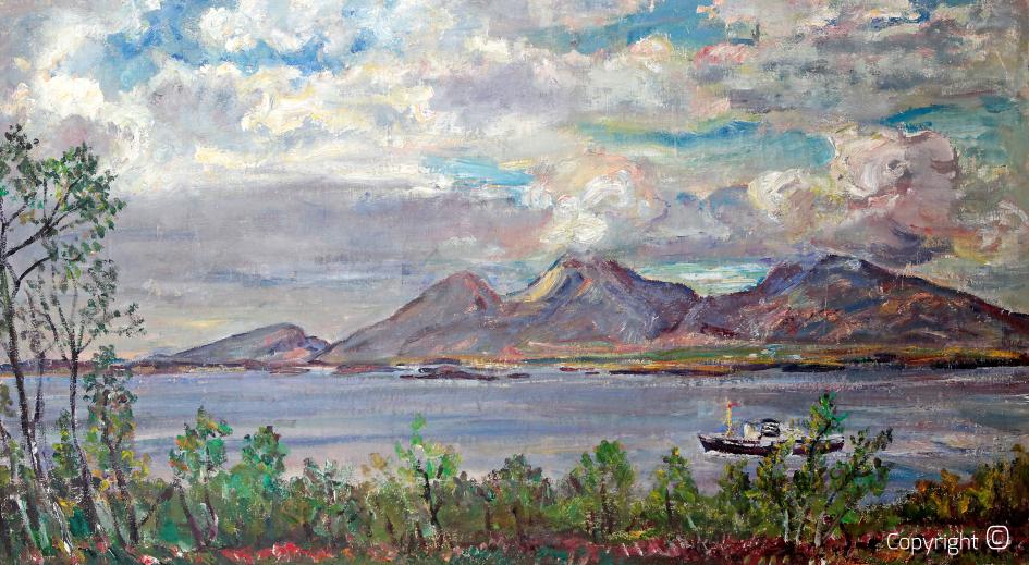 Schiff am Polarkreis, Insel Aalsten, ca. 1960