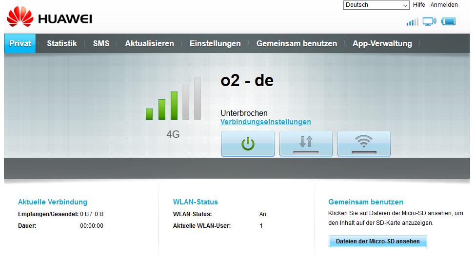 Weboberfläche LTE-Konfiguration