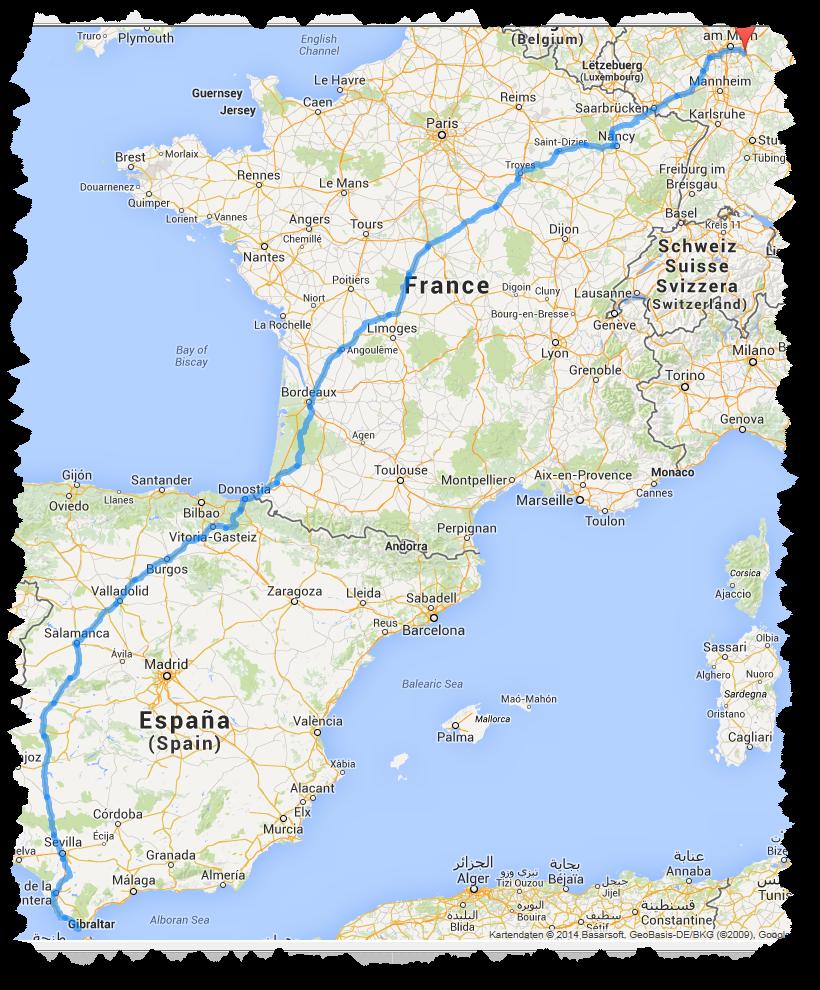 Route für die Anreise