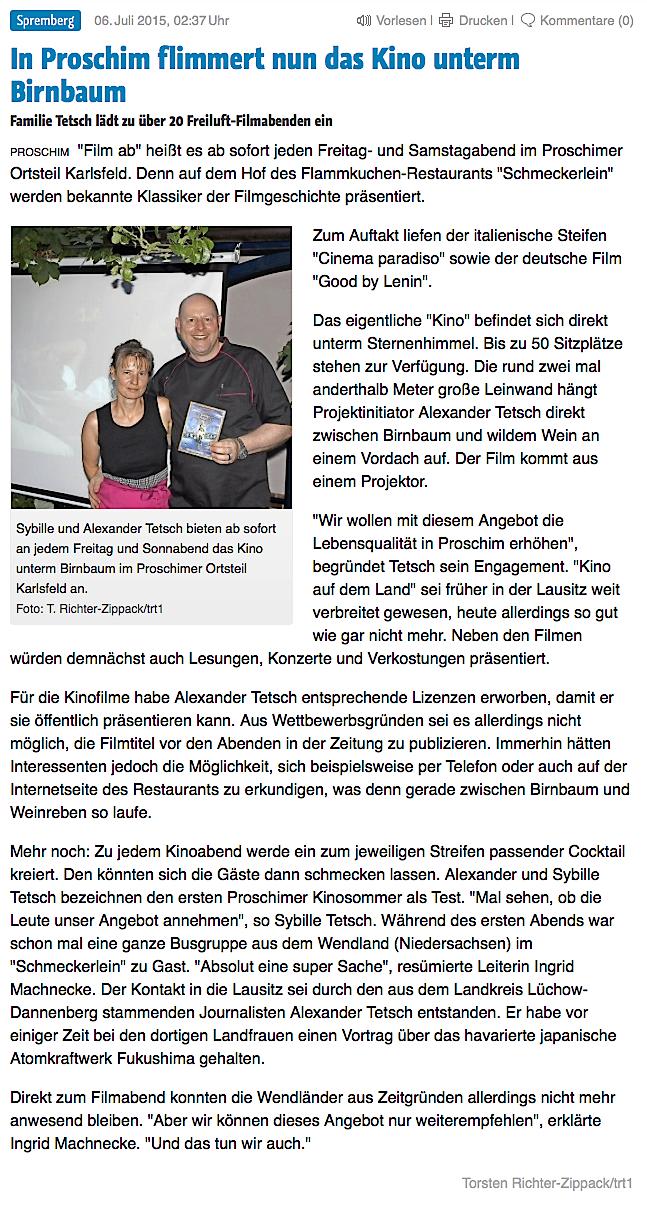 """aus der """"Lausitzer Rundschau"""" vom 6. Juli 2015"""