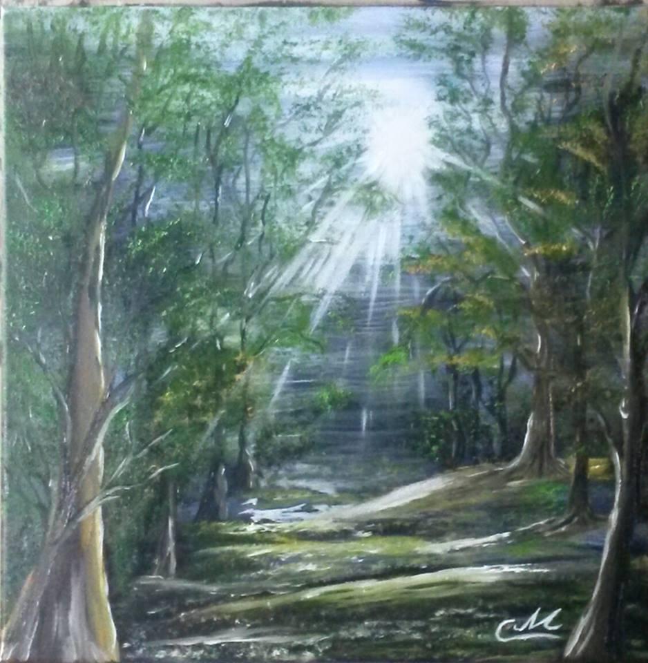 Sonnenstrahlen in Waldlichtung