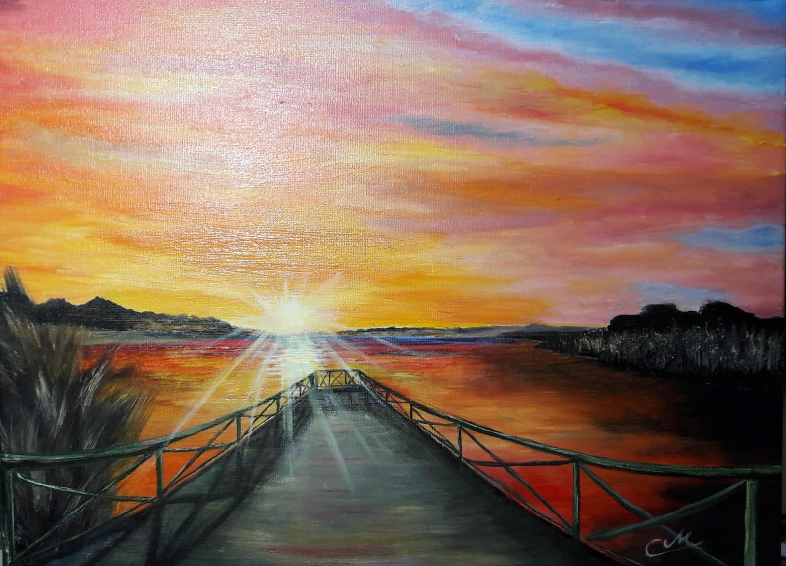 Sonnenuntergang am Schmachter See in Binz