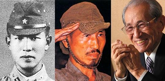 1974年、ルパング島で発見された当時の小野田少尉(中央)、29年間彼は戦っていました