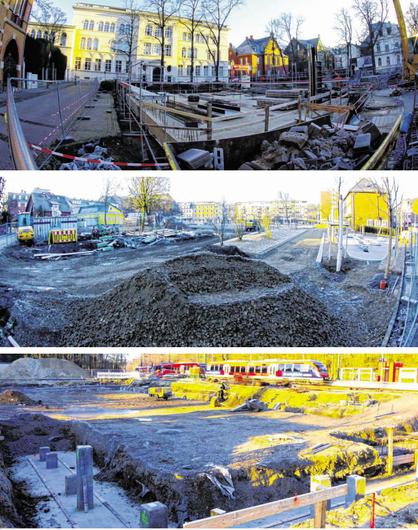 Drei Vorzeigeprojekte, die in diesem Frühjahr eingeweiht werden können: Die Umgestaltung von Kaiserplatz sowie Frankental und Bastinsweiher und neue Parkhaus am Hauptbahnhof Fotos: J. Lange