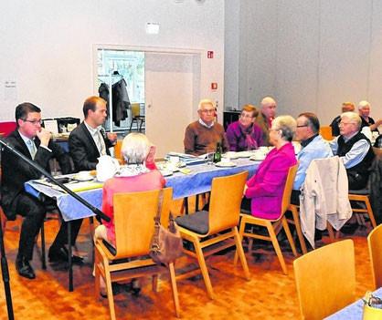 Die Mitglieder der Seniorenunion diskutierten mit Dr. Tim Grüttemeier und Tobias Röhm. Foto: Veranstalter