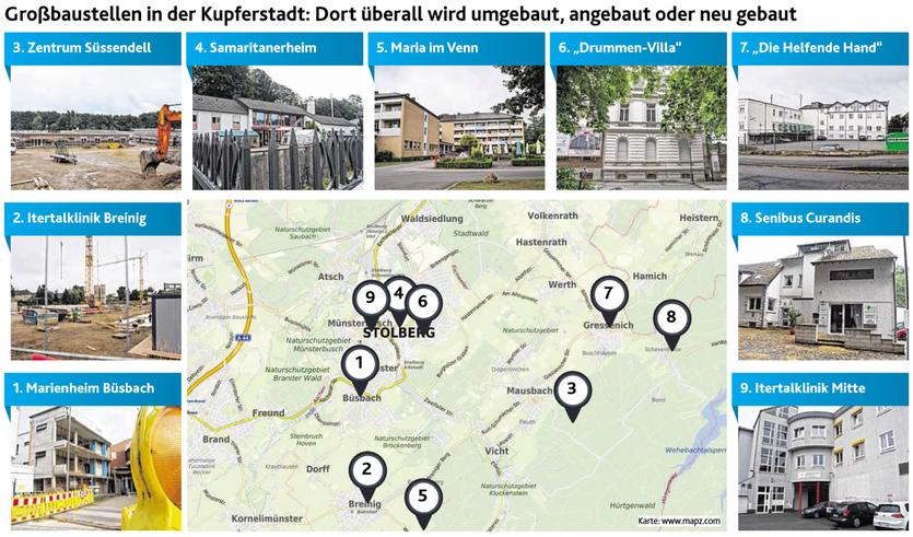 In den nächsten drei Jahren sollen alle diese Baustellen fertiggestellt sein. Damit gibt es zusätzlichen Wohnraum für Senioren in der Stadt Stolberg. Und dieser wird auch benötigt. Fotos: L. Beemelmanns (8), D. Müller (1)
