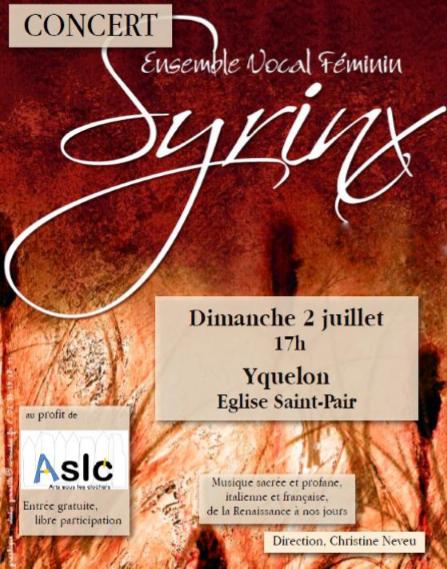 Affiche du concert de Syrinx du 2 juillet à Yquelon