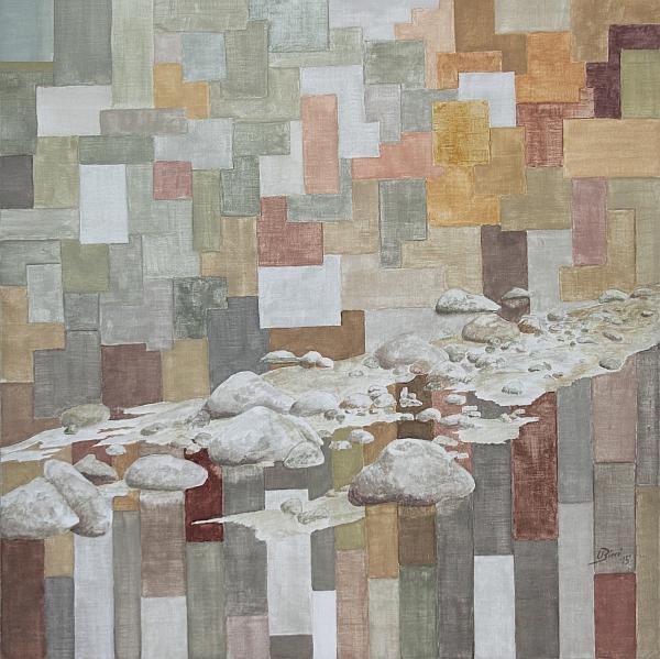 Hundert - 100 Natursteinpigmente (Leinen auf Holz) - 100x100 cm - CHF 100x100
