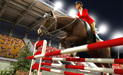 Pferd und Reiter auf dem Hindernis-Parcours