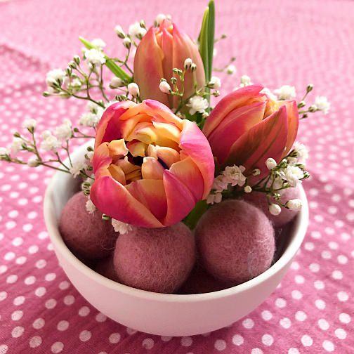 filzkugeln ostern osterei kroglice iz filca dekoracija tulpen schleier osterdeko easterggs easter decoration