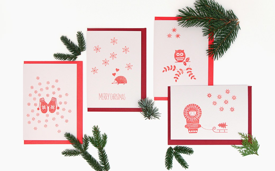 Fridolina fridolina.si stamps rubber stamps stempel perlenfischer gift wrapping geschenkeverpacken box card christmas red white hygge