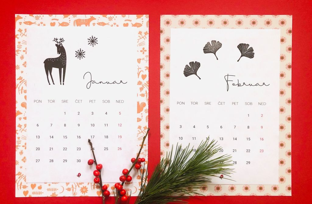 calendar 2020 koledar štampiljka rubber stamps perlenfischer tannenbaum new year kalender free printable freebie perlenfischer