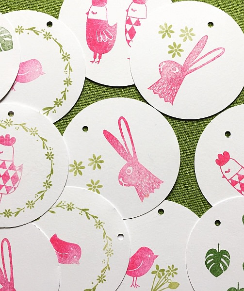 ruber stamps perlenfischer fridolina spring bunny hase zajec ostern osterdeko tischdekoration table setting gift wrapping bakers twine