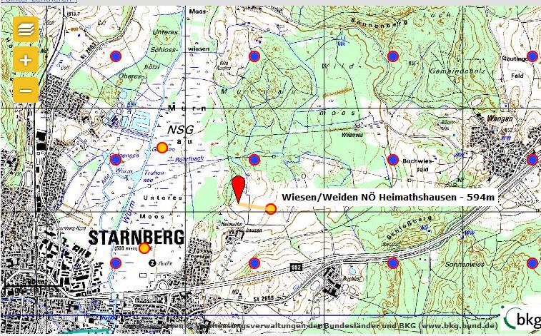 Lokalisierungsarten im ornitho.de (rot = exakt lokalisiert, blau =Halbminutenfeld, gelb = ornithologisches Gebiet)