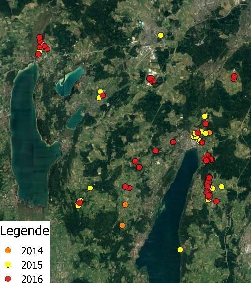 Sumpfrohrsängervorkommen im Lkr. STA in den Jahren 2014-2016