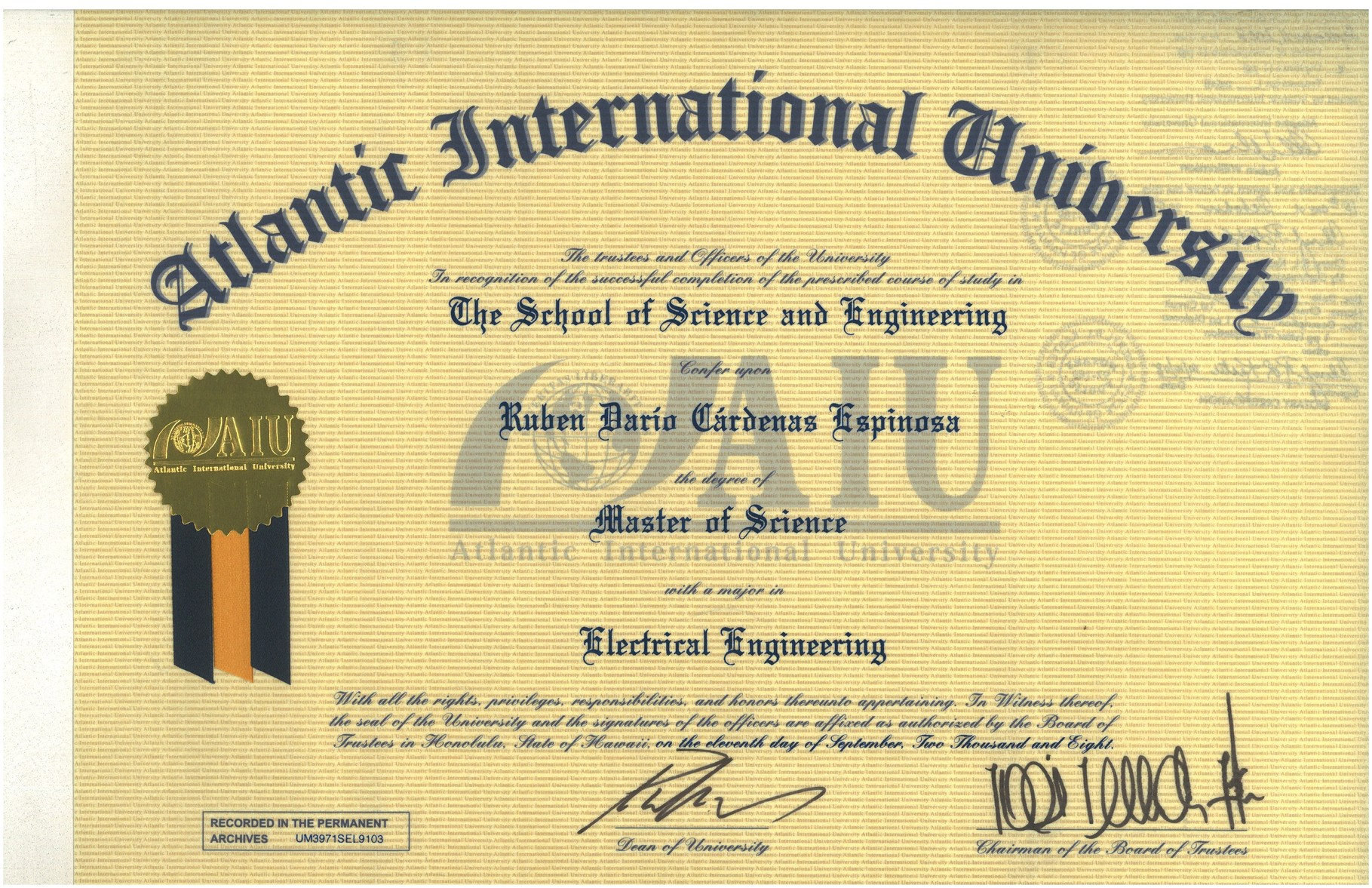 Master of Sciences with major in Electrical Engineering