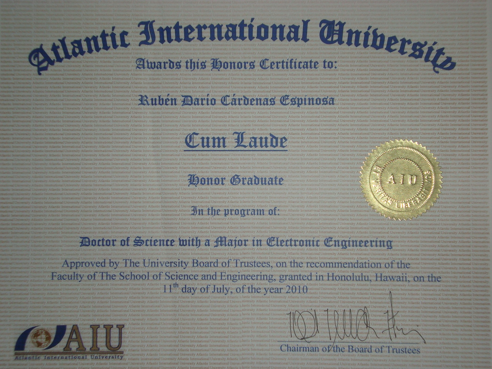 CUM LAUDE Doctor of Sciences with major in Electronic Engineering