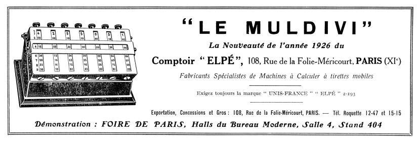 """Anuncio publicitario, año 1926, en """"Mon Bureau"""" de LE MULDIVI, ejemplar 3, con 7 cilindros multiplicativos de Napier de 10 caras cada uno"""