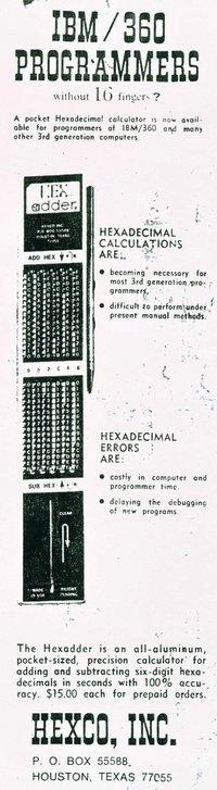 Publicidad del Addiator HEX, base 16 (o hexadecimal), para programadores del IBM 360