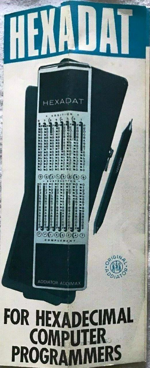 Folleto publicitario del Addiator-Addimax HEXADAT base 16 (o hexadecimal) para ordenadores hexadecimales