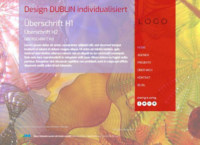 Jimdo Designvorlage DUBLIN. Bei diesem Design kann der komplette Inhalt ausgerichtet werden (links, mittig oder rechts). Zusätzlich kann der Abstand vom oberen Rand bis zu den Elementen angepasst werden.